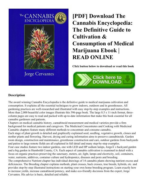 Marijuana Horticulture The Indoor/outdoor Medical Growers Bible Ebook