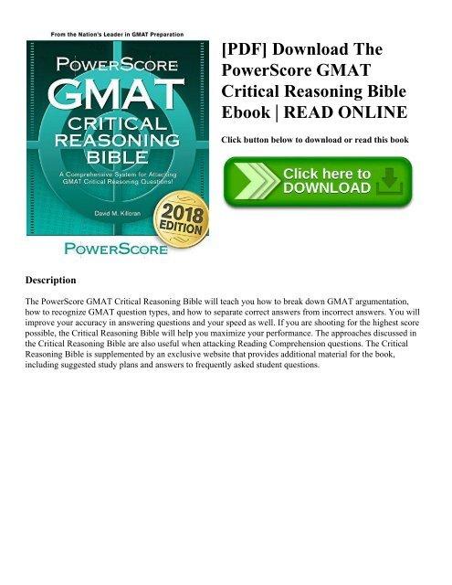 Pdf Download The Powerscore Gmat Critical Reasoning Bible Ebook Read Online