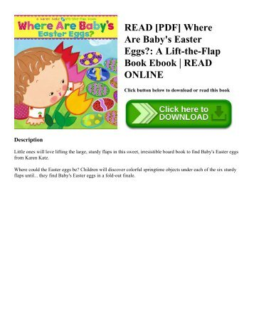 READ [PDF] Where Are Baby's Easter Eggs?: A Lift-the-Flap Book Ebook | READ ONLINE