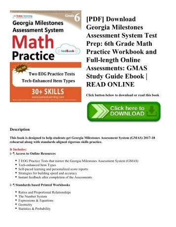 Pdf Download Georgia Milestones Assessment System Test Prep Grade