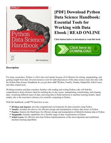 [PDF] Download Python Data Science Handbook: Essential Tools for Working with Data Ebook | READ ONLINE