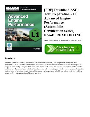 [PDF] Download ASE Test Preparation - L1 Advanced Engine Performance (Automobile Certification Series) Ebook | READ ONLINE