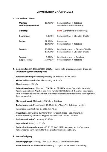 Vermeldungen KW15/18