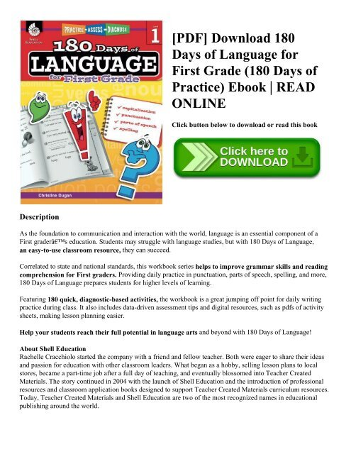 Pdf Download 180 Days Of Language For First Grade 180 Days