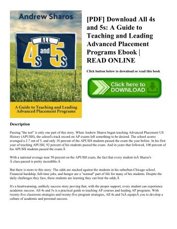 [PDF] Download All 4s and 5s: A Guide to Teaching and Leading Advanced Placement Programs Ebook | READ ONLINE