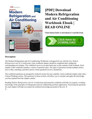 [PDF] Download Modern Refrigeration and Air Conditioning Workbook Ebook | READ ONLINE