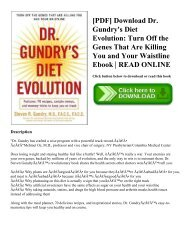 [PDF] Download Dr. Gundry's Diet Evolution: Turn Off the Genes That Are Killing You and Your Waistline Ebook | READ ONLINE