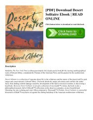 [PDF] Download Desert Solitaire Ebook | READ ONLINE