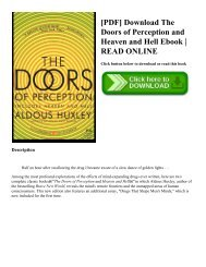 [PDF] Download The Doors of Perception and Heaven and Hell Ebook | READ ONLINE