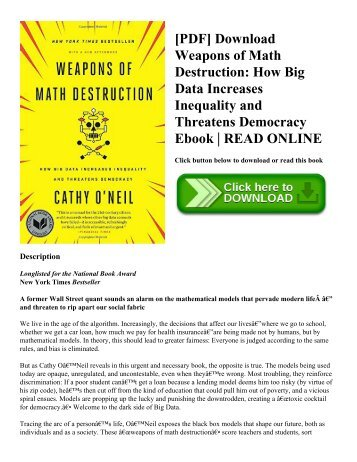 [PDF] Download Weapons of Math Destruction: How Big Data Increases Inequality and Threatens Democracy Ebook | READ ONLINE