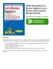 [PDF] Download Let's Review Algebra I (Let's Review Series) Ebook   READ ONLINE