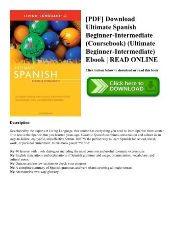 [PDF] Download Ultimate Spanish Beginner-Intermediate (Coursebook) (Ultimate Beginner-Intermediate) Ebook | READ ONLINE