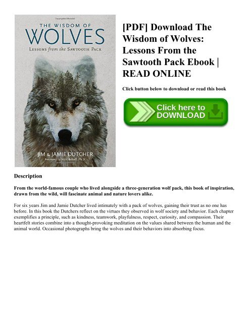 Pdf Download The Wisdom Of Wolves Lessons From The Sawtooth Pack Ebook Read Online