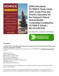 [PDF] Download NCMHCE Study Guide 2018: Exam Prep and Practice Questions for the National Clinical Mental Health Counseling Examination NCMHCE Ebook | READ ONLINE