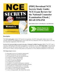[PDF] Download NCE Secrets Study Guide: NCE Exam Review for the National Counselor Examination Ebook | READ ONLINE