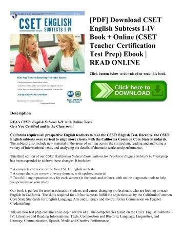 [PDF] Download CSET English Subtests I-IV Book + Online (CSET Teacher Certification Test Prep) Ebook | READ ONLINE