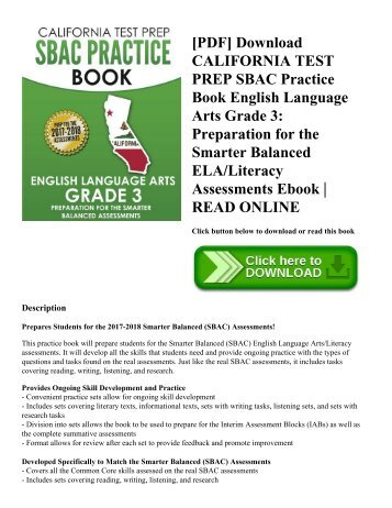 [PDF] Download CALIFORNIA TEST PREP SBAC Practice Book English Language Arts Grade 3: Preparation for the Smarter Balanced ELA/Literacy Assessments Ebook   READ ONLINE