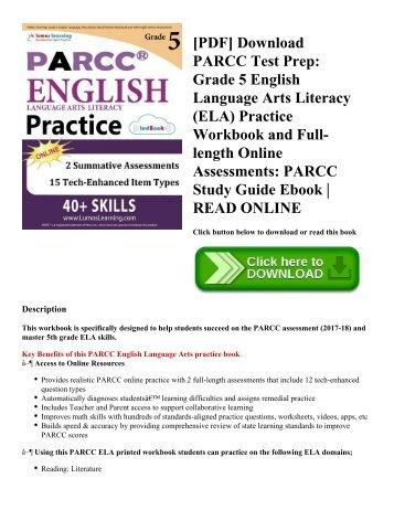 [PDF] Download PARCC Test Prep: Grade 5 English Language Arts Literacy (ELA) Practice Workbook and Full-length Online Assessments: PARCC Study Guide Ebook   READ ONLINE