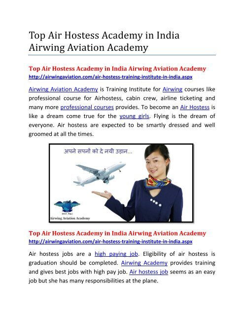 Top Air Hostess Academy in India Airwing Aviation Academy