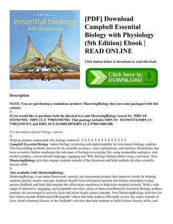 Pearson campbell biology 9th edition for new exam college board pdf download campbell essential biology with physiology 5th edition ebook read fandeluxe Gallery