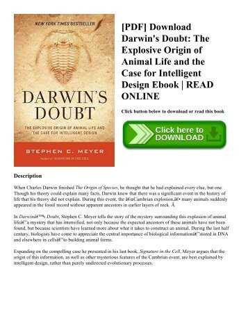 [PDF] Download Darwin's Doubt: The Explosive Origin of Animal Life and the Case for Intelligent Design Ebook   READ ONLINE