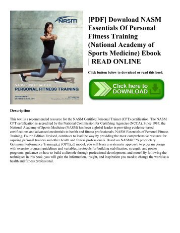 [PDF] Download NASM Essentials Of Personal Fitness Training (National Academy of Sports Medicine) Ebook | READ ONLINE
