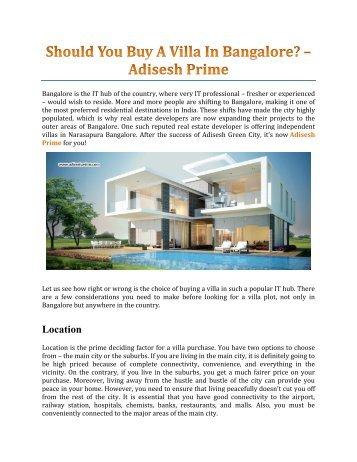 Should You Buy A Villa In Bangalore? – Adisesh Prime
