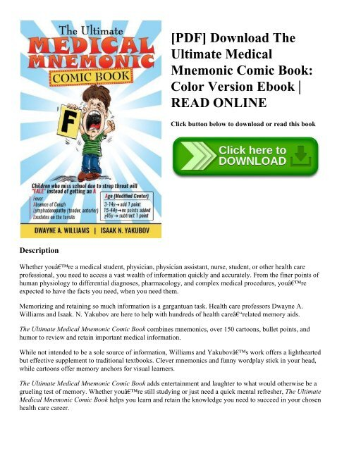 PDF] Download The Ultimate Medical Mnemonic Comic Book: Color