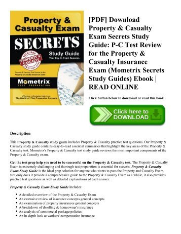 [PDF] Download Property & Casualty Exam Secrets Study Guide: P-C Test Review for the Property & Casualty Insurance Exam (Mometrix Secrets Study Guides) Ebook | READ ONLINE