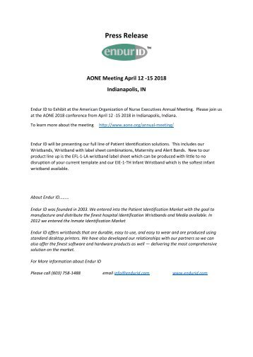 AONE Meeting April 12 -15 2018  Indianapolis, IN