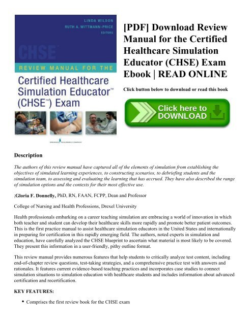 PDF] Download Review Manual for the Certified Healthcare Simulation