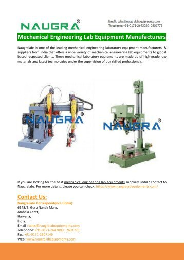 Mechanical Engineering Lab Equipment Manufacturers & Suppliers-Naugralabs