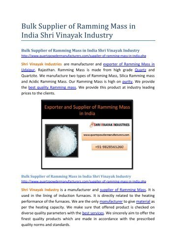 Bulk Supplier of Ramming Mass in India Shri Vinayak Industry