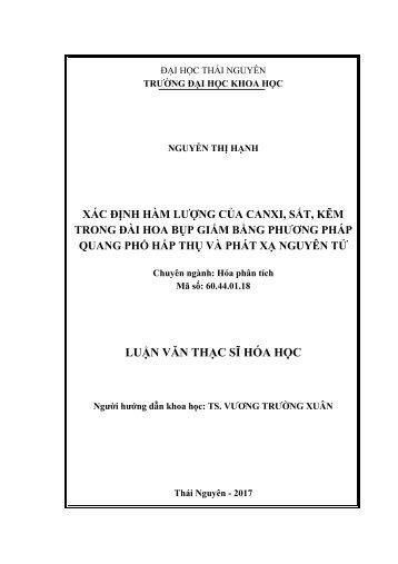 Xác định hàm lượng của Canxi, Sắt, Kẽm trong đài hoa bụp giấm bằng phương pháp phổ hấp thụ và phát xạ nguyên tử (2017)