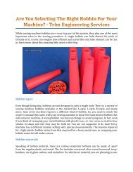 Are You Selecting The Right Bobbin For Your Machine? - Trim Engineering Services