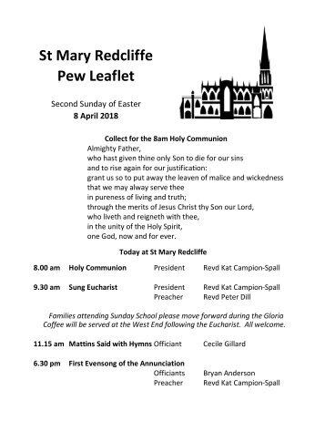 St Mary Redcliffe Church Pew Leaflet - April 8 2018