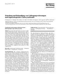 Einteilung und Behandlung von Gallengangverletzungen nach ...
