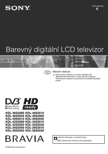 Sony KDL-40S2030 - KDL-40S2030 Istruzioni per l'uso Ceco