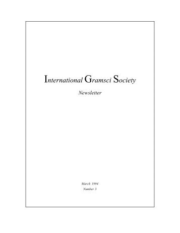 Newsletter - International Gramsci Society