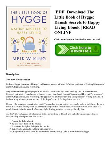 [PDF] Download The Little Book of Hygge: Danish Secrets to Happy Living Ebook | READ ONLINE
