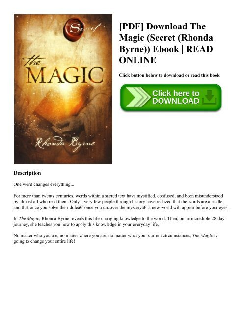 The Magic Ebook Rhonda Byrne