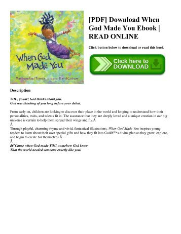 [PDF] Download When God Made You Ebook | READ ONLINE
