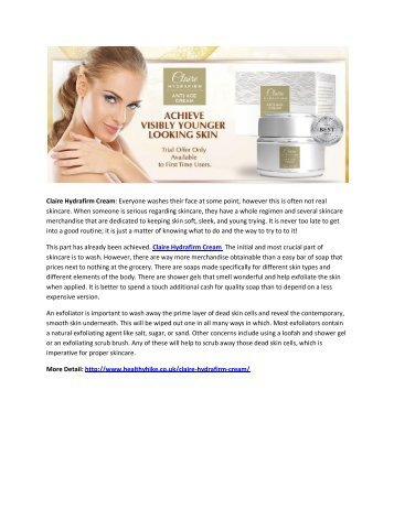 Claire Hydrafirm Cream-Easy Nautral Way To Get Beautiful Skin