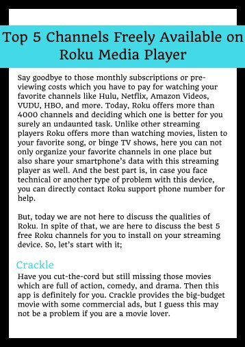 Stream Free Channels on Roku Player