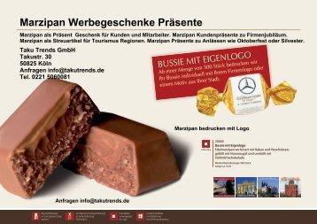 Marzipan Werbegeschenke mit Logo bedrucken Werbeartikel Giveaway
