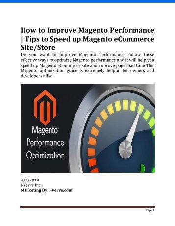 How to Optimize Magento performance