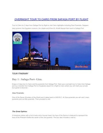 Tours from Safaga Port to Cairo