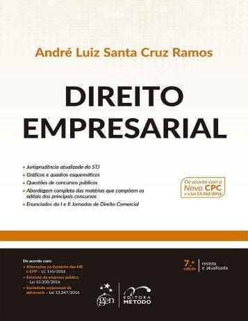 RAMOS, André Luiz Santa Cruz. Direito Empresarial Esquematizado (2017)