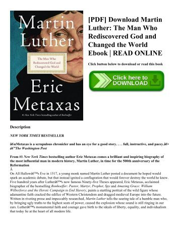 [PDF] Download Martin Luther: The Man Who Rediscovered God and Changed the World Ebook | READ ONLINE