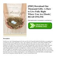 [PDF] Download One Thousand Gifts: A Dare to Live Fully Right Where You Are Ebook   READ ONLINE